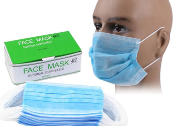 Disposable Surgical Face Mask – 50 Pcs – 3 Ply – Nose Pin – Blue