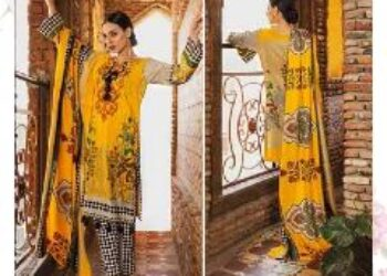 Unstitched 3 Piece Linen with wool shawl Dupatta